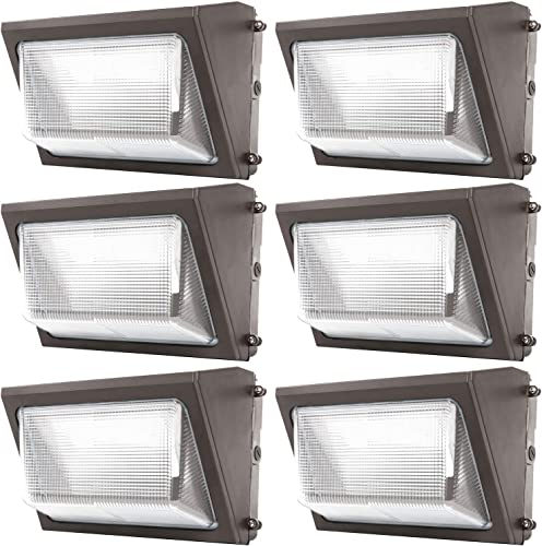 Sunco Lighting 6 Pack 80W LED Wall Pack, Daylight 5000K, 7600 LM, HID Replacement, IP65, 120-277V, Bright Consistent Commercial Outdoor Security Lighting – ETL, DLC Listed 6 Pack