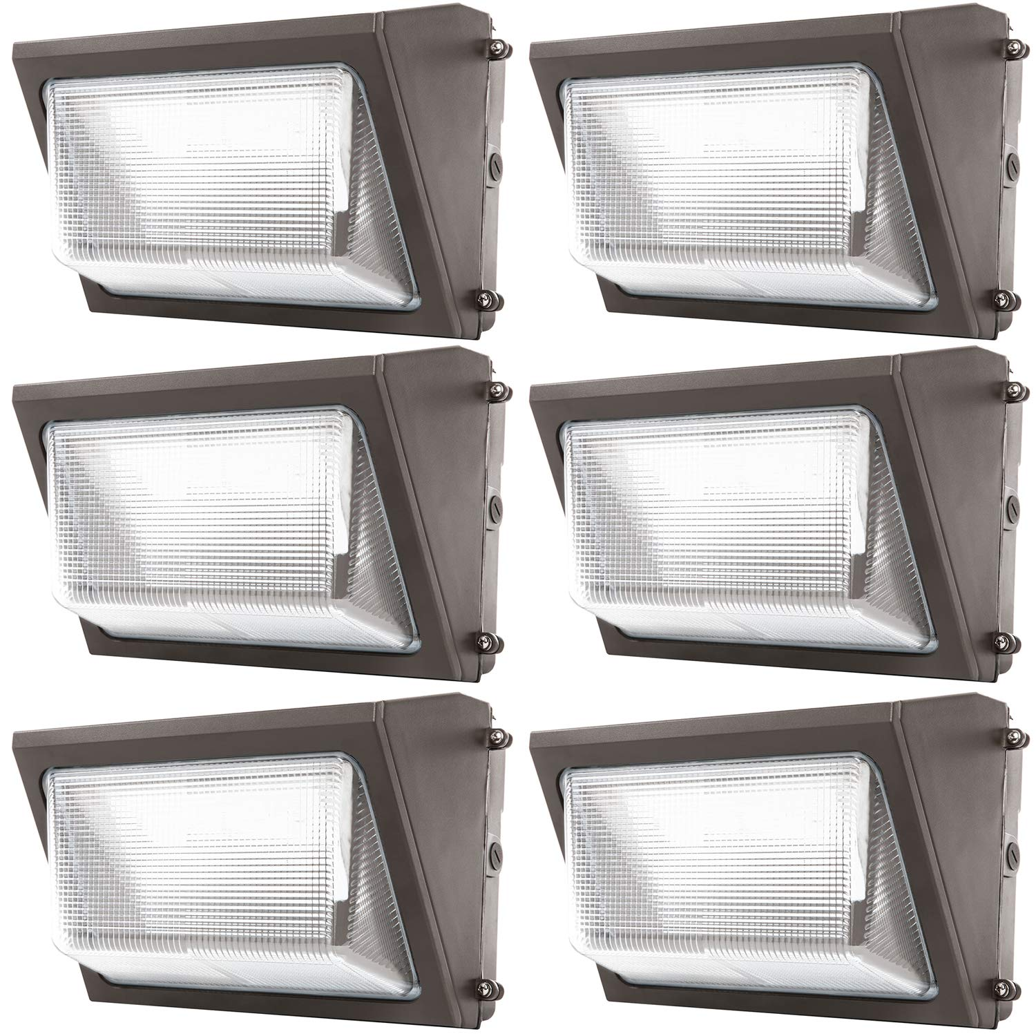 Sunco Lighting 6 Pack 80W LED Wall Pack, Daylight 5000K, 7600 LM, HID replacement, IP65, 120-277V, Bright Consistent Commercial Outdoor Security Lighting - ETL, DLC Listed