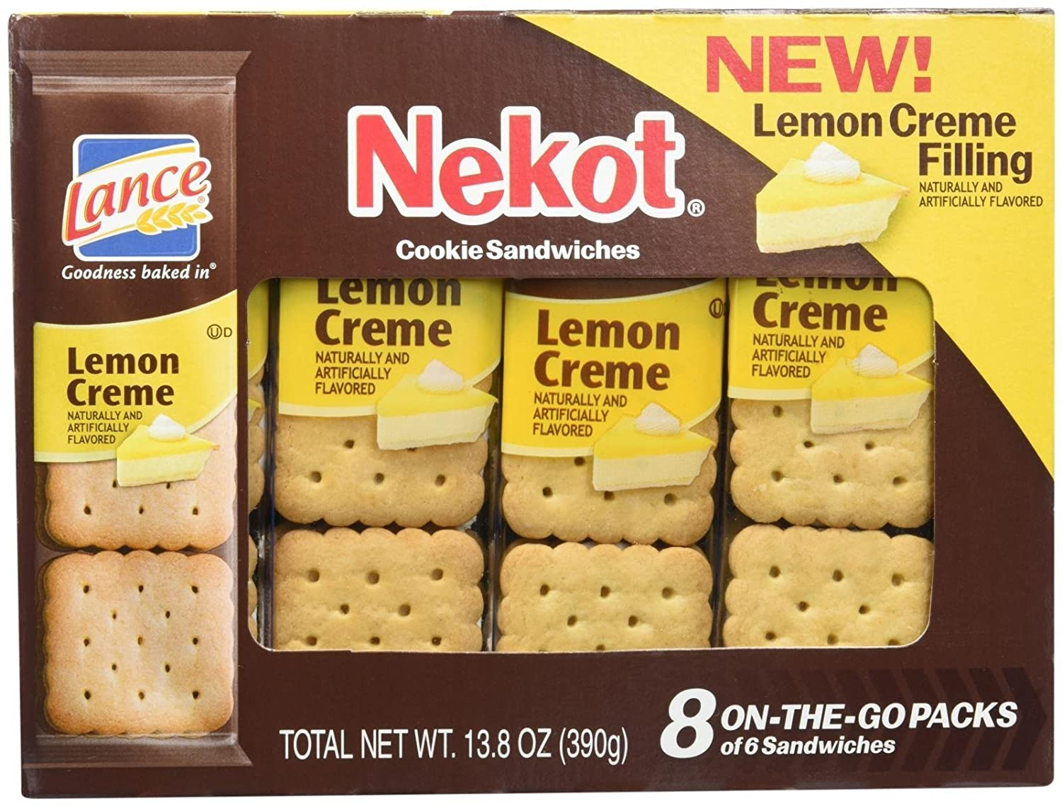 Lance Nekot Cookie Sandwiches Lemon Creme Filling - 8 CT