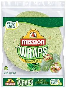 Mission, Garden Spinach Herb Soft Veggie Wraps, 6 ct