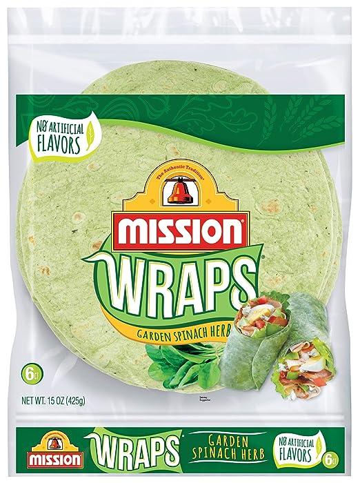 Mission Garden Spinach Herb Wraps, Soft Veggie Wraps, Trans Fat Free, 6 Count