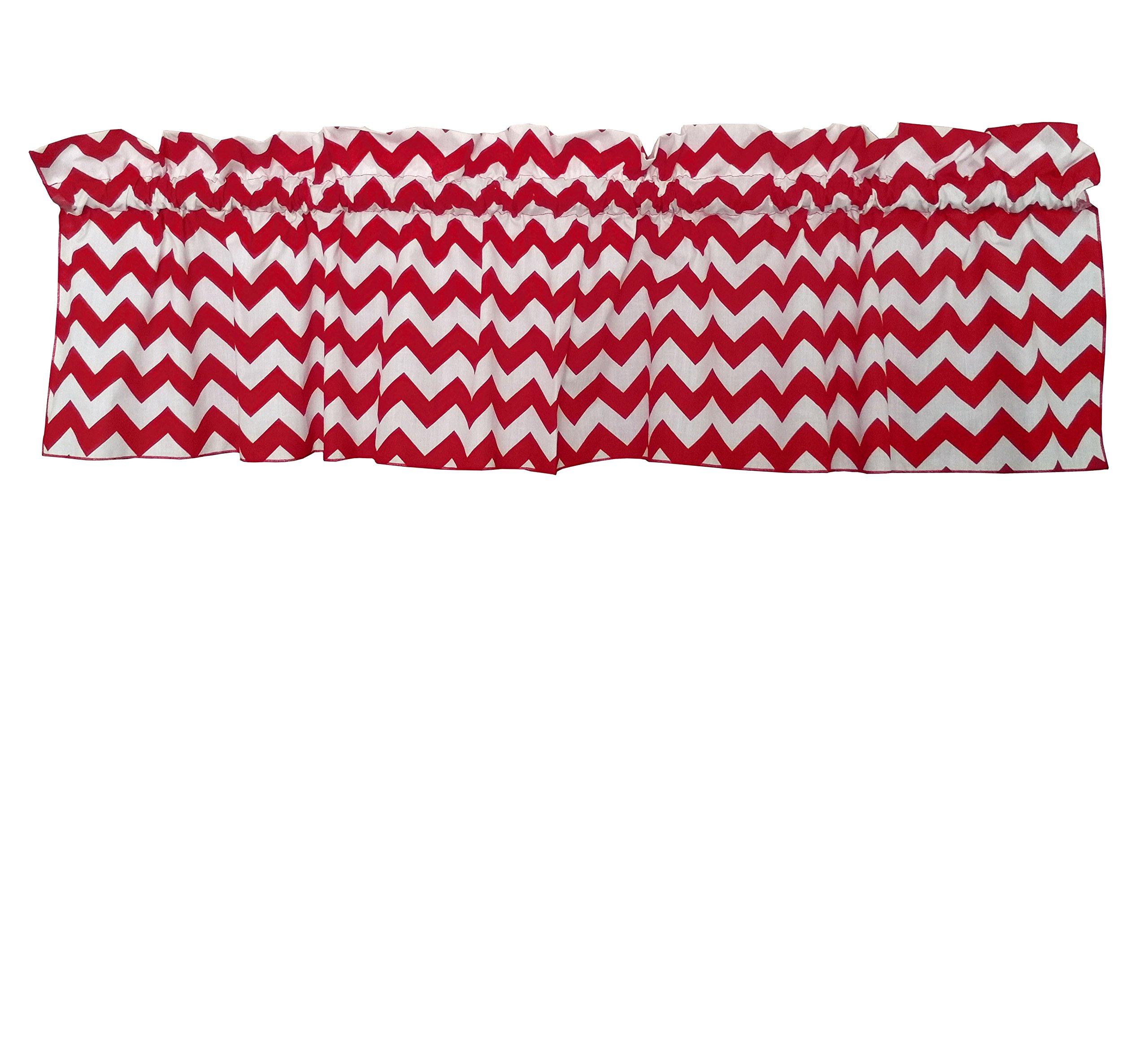 Zen Creative Designs Premium Cotton Chevron Curtain Valance / Home Decor / Window Treatment / Kitchen / Baby Nursery / Chevron / Zig-zag (18 Inch x 58 Inch, Red)