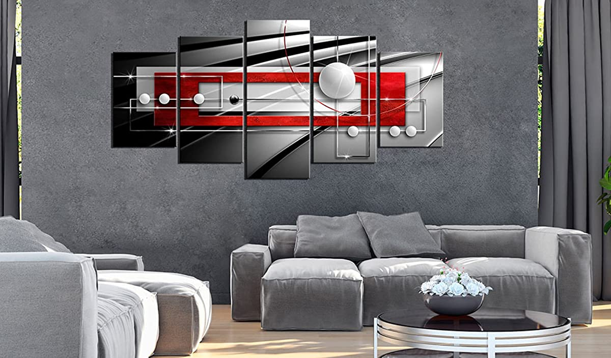 Huge Modern Symmetry Black and White Red Canvas Print Wall Art Contemporary Painting 5 Pieces Decorations Extra Large Picture Ready to Hang Home Office Decor (30x60, ELF18)