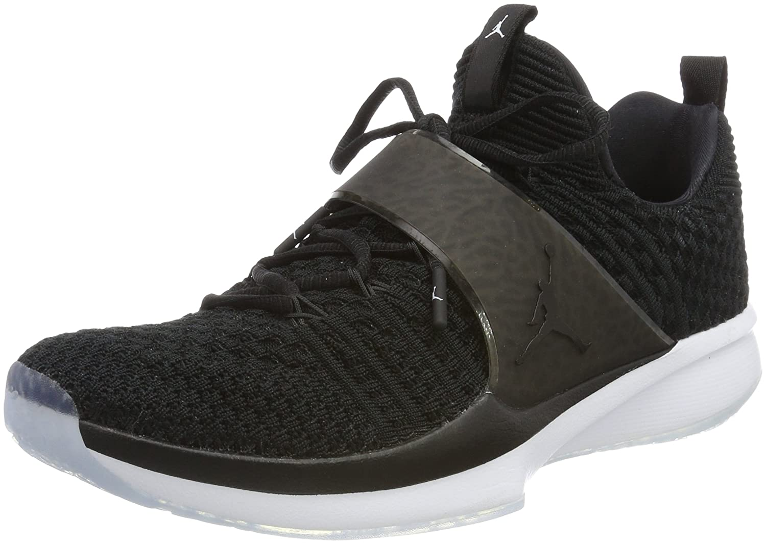Amazon.com | Jordan Nike Mens Trainer 2 Flyknit Black/Black/White Training Shoe 10.5 Men US | Fitness & Cross-Training