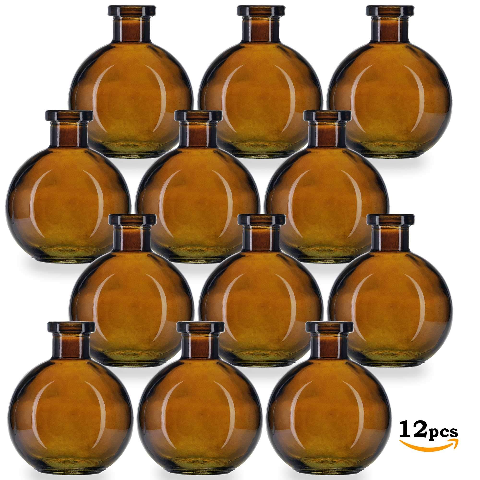 Glassnow C6544G48-N Ball Glass Bottle No Cork, 8.5oz, 12 Pieces, Dark Amber, 250ml, by Glassnow