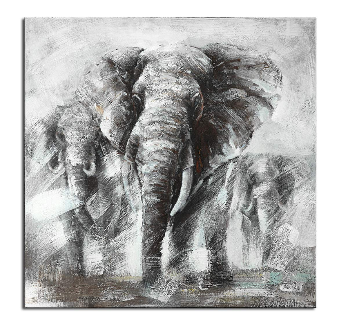 Hand painted elephant paintings wall decor leader elephants family love african wild animals contemporary oil painting black white canvas art thick
