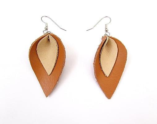 Leather Petal Earrings, Teardrop, Tan
