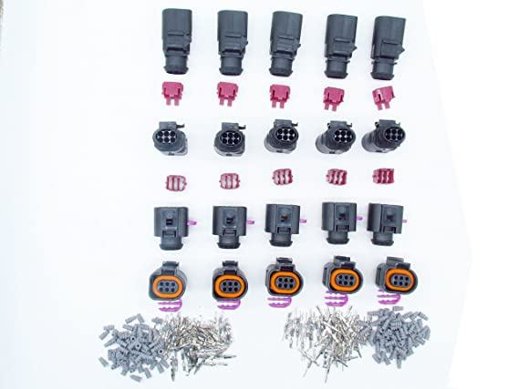 CNKF 5 Sets Bosch Connector 1.5mm 6 pin way sealed Waterproof male female auto housing plug includes terminals and seals for VW,Audi,Seat Skoda