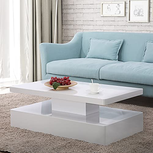 Mecor Modern Glossy White Coffee Table W/LED Lighting