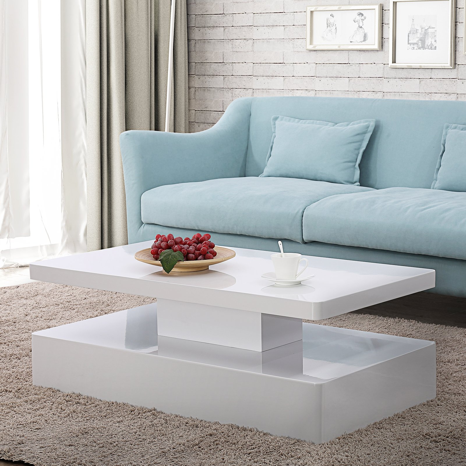 Mecor Modern Glossy White Coffee Table W/LED Lighting, Contemporary Rectangle Design Living Room Furniture by mecor