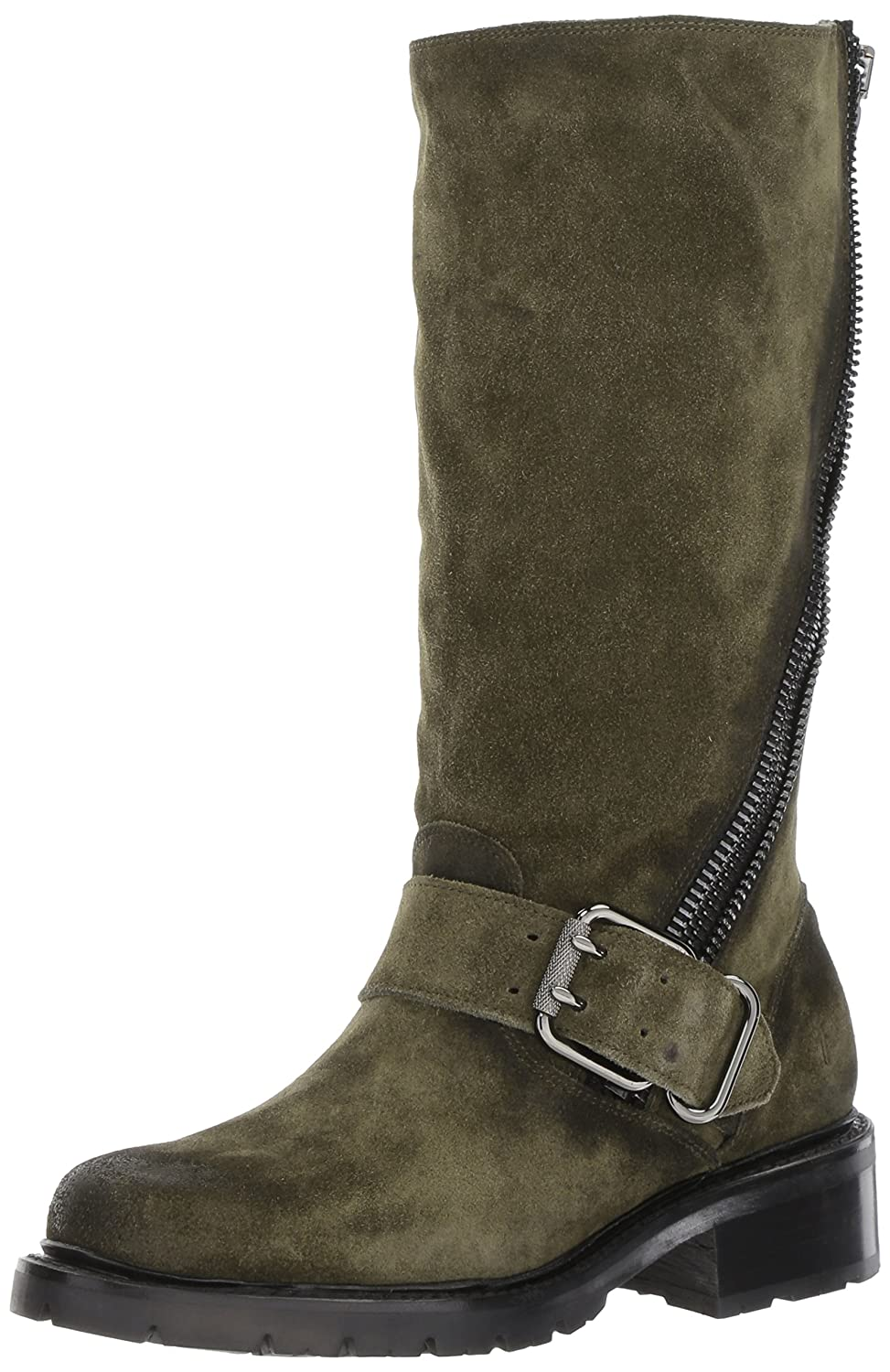 FRYE Women's Samantha Zip Tall Motorcycle Boot B01MU715L6 7.5 B(M) US|Forest Soft Oiled Suede