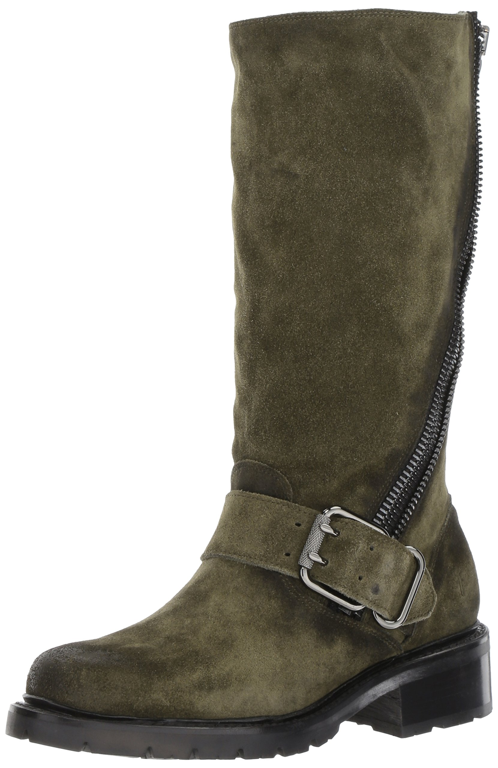FRYE Women's Samantha Zip Tall Motorcycle Boot, Forest Soft Oiled Suede, 8 M US