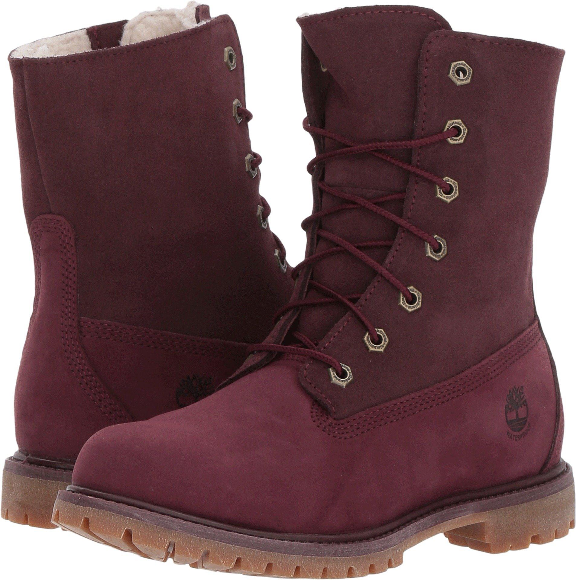 Timberland Womens Teddy Fleece Waterproof Boots, Red, 7.5 B(M) US