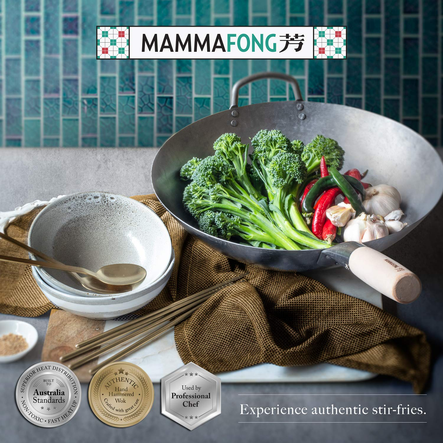 Flat Bottom Wok, Traditional Hand Hammered Wok, 14 Inch Carbon Steel Chinese Pow Wok by Mammafong by Mammafong (Image #7)