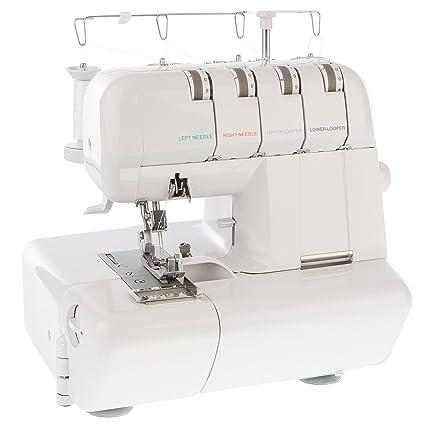 LEVIVO Máquina de Coser overlock NO1 de 4 Hilos, Aluminium, Blanco, 39.5x33x36