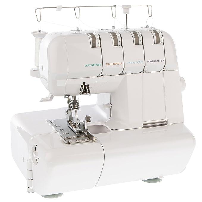 LEVIVO Máquina de Coser overlock NO1 de 4 Hilos, Aluminium, Blanco, 39.5x33x36.5 cm: Amazon.es: Hogar