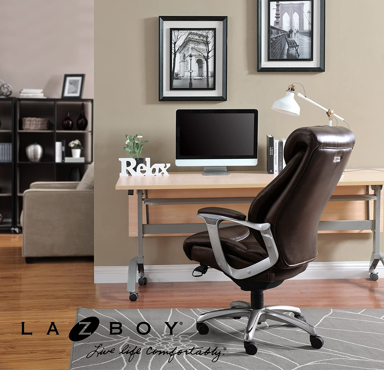 Amazon.com: La Z Boy Cantania Executive Bonded Leather Office Chair    Coffee (Brown): Kitchen U0026 Dining