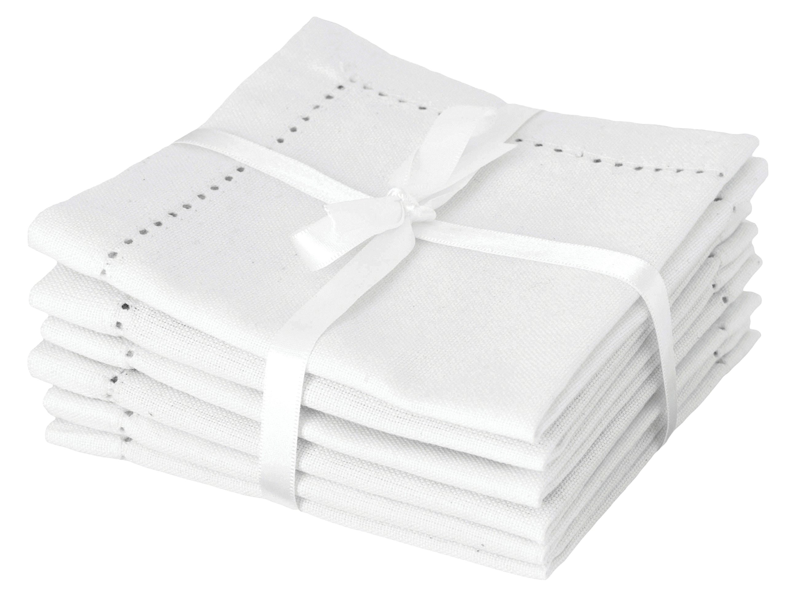 Now Designs Hemstitch Cocktail Small Napkins, Set of 6, White