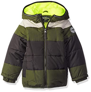 605605320 Amazon.com  OshKosh B Gosh Boys  Heavyweight Colorblock Puffer Coat ...