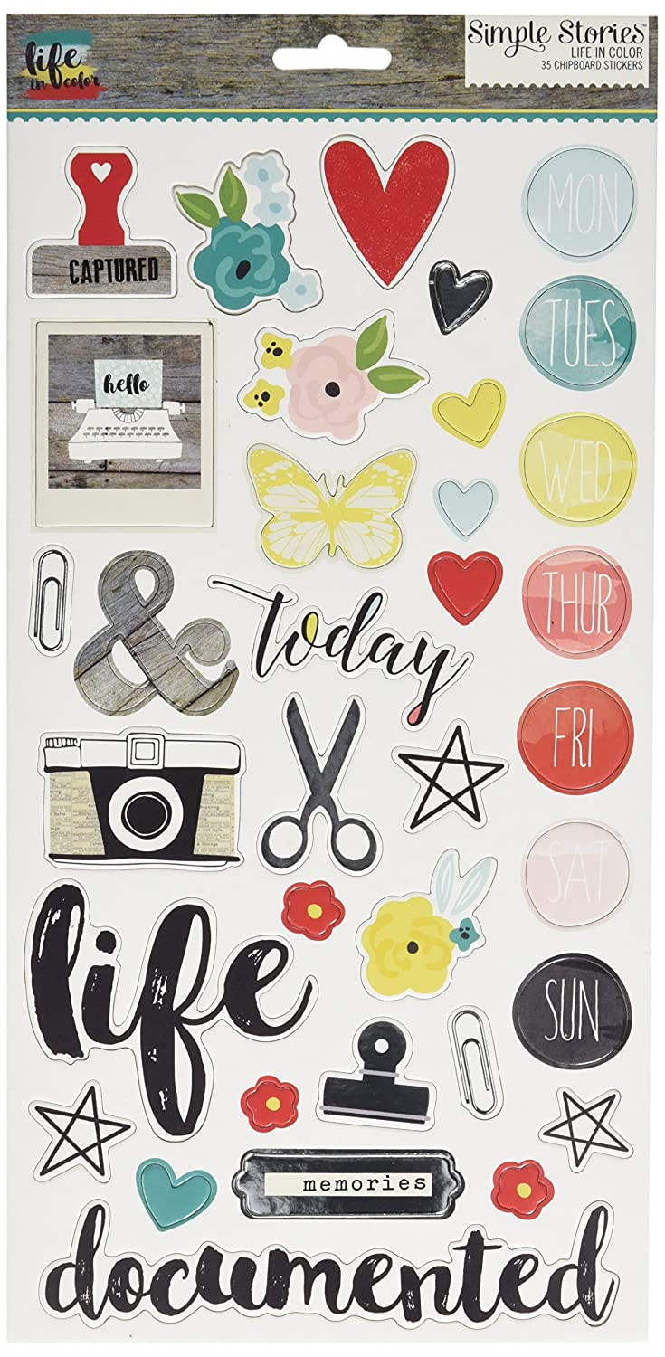 Simple Stories 5028 Life in Color Chipboard Stickers, 6 by 12, Multicolor 6 by 12