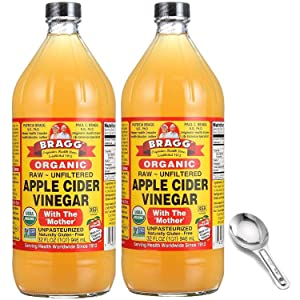 Bragg Organic Apple Cider Vinegar With the Mother– USDA Certified Organic – Raw, Unfiltered All Natural Ingredients, 32 Fl Oz W/ Measuring Spoon, 2 Pack