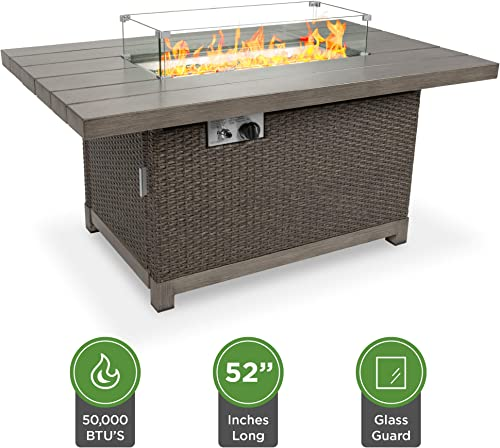 Best Choice Products 52in 50,000 BTU Wicker Propane Fire Pit Table w Aluminum Tabletop, Glass Wind Guard, Storage Cover, Glass Beads, Easy Access Tank Cabinet