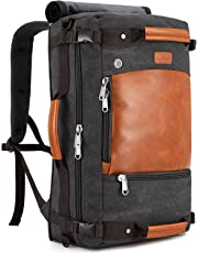 Plambag Canvas Travel Duffel Backpack Retro Laptop Messenger Bag Handbag (Dark Gray, One Size)
