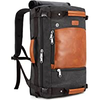 Plambag Canvas Travel Duffel Backpack Retro Laptop Messenger Bag Handbag (Dark Gray, One Size)