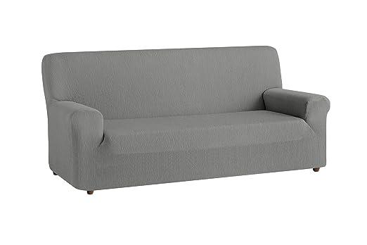 textil-home Funda de Sofá Elástica TEIDE, 4 plazas - Desde 240 a 270 cm. Color Gris