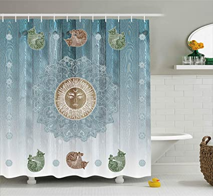 Ambesonne Hippie Shower Curtain Ancient Sun Figure With Cats Sacred Belief Totem Boho Display