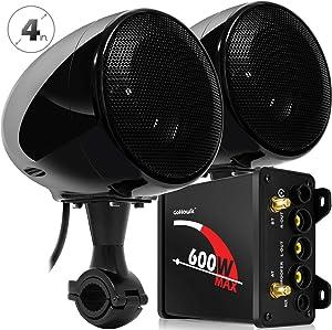 "GoHawk TN4 2.1 Channel Amplifier 4"" Full Range Waterproof Bluetooth Motorcycle Stereo Speakers Audio System AUX FM Radio for 7/8-1.25 in. Handlebar Harley Yamaha Can-Am ATV UTV RZR Polaris"