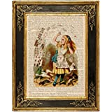 Dreamery Studio, Alice in Wonderland Art Print on Upcycled Antique Book Page, Pack of Cards 8x10.5 Color
