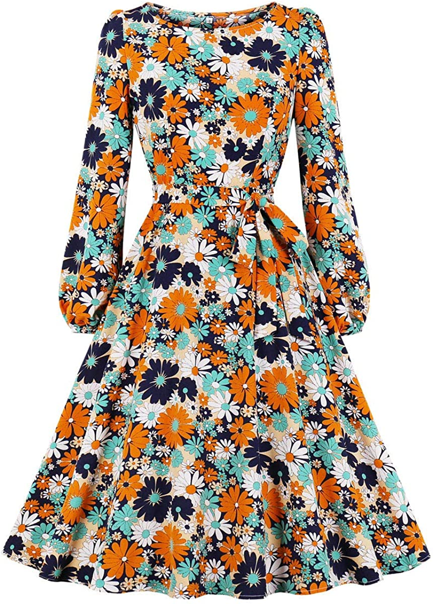 1950s Dresses, 50s Dresses | 1950s Style Dresses Wellwits Womens Bishop Long Sleeves Tie Waist Long Sleeves Vintage Dress  AT vintagedancer.com