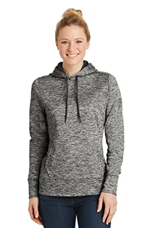 f6aa62100b9 Sport-Tek Ladies PosiCharge Electric Heather Fleece Hooded Pullover. LST225 Black  Electric XS