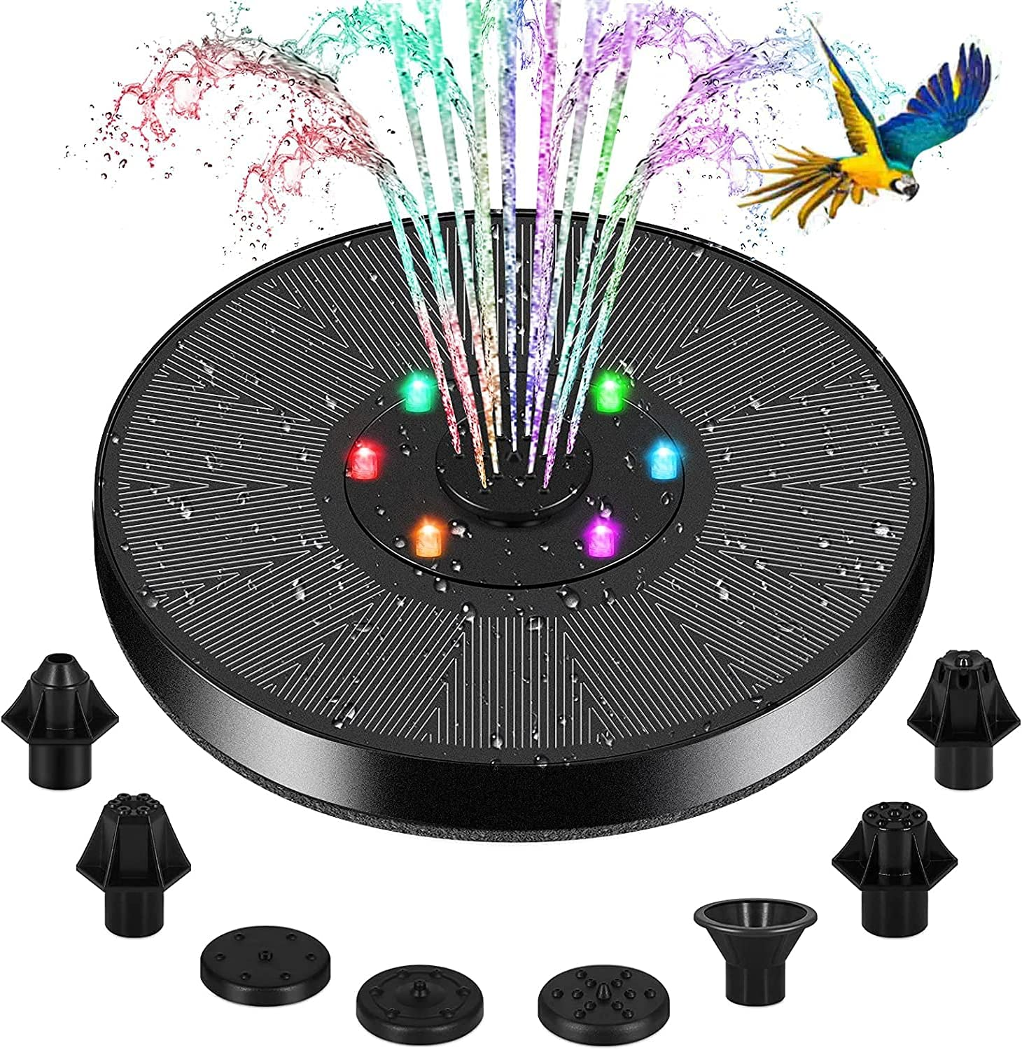 Reesibi Solar Fountain Pump for Bird Bath,2021 Solar Water Fountain Pump with LED Lights,Outdoor Fountain Pump,Upgrade 3W,7 Nozzles,4 Anti-Collision Bars, for Fish Tank,Pond,and Patio Garden Decor