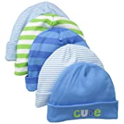 Gerber Baby Boys' 5 Pack Caps, Stripes Multi, 0-6 Months