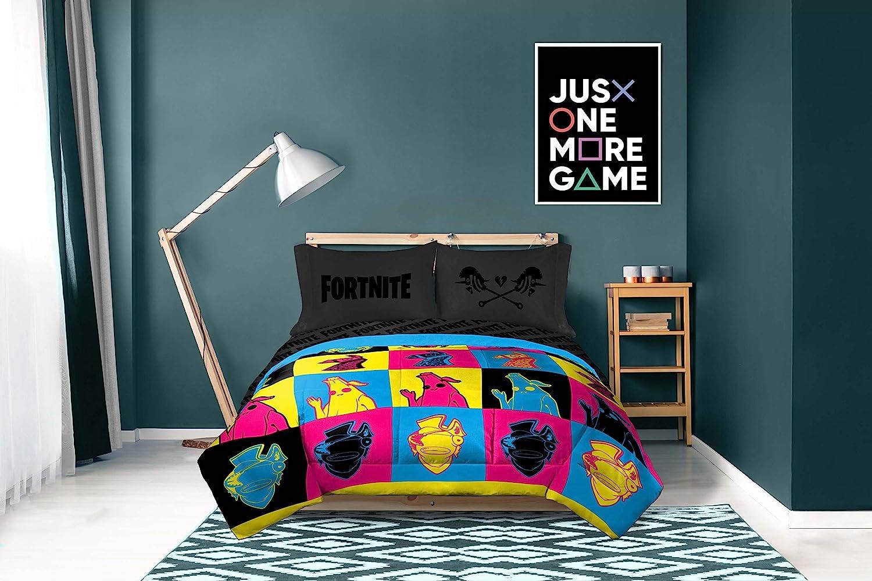 Jay Franco Fortnite Neon Warhol Parure de lit 18 pièces avec
