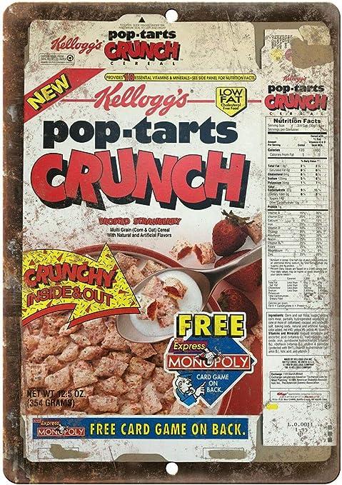 Cartel de Aluminio Retro Vintage Kelloggs Pop Tarts Crunch Cereal Box Art Metal Sign 7 x 10 Pulgadas: Amazon.es: Hogar