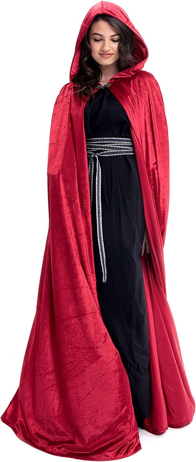 Little Adventures Deluxe Velvet Adult Cloak Cape with Lined Hood (Red),One Size: Clothing