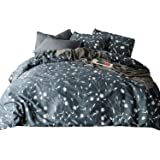SUSYBAO 3 Pieces Duvet Cover Set 100% Natural Cotton King Size Grey and White Floral Branch Print Bedding with Zipper Ties 1 Duvet Cover 2 Pillowcases Hotel Quality Soft Breathable Comfortable Durable
