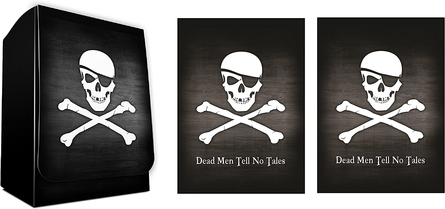 SKULL AND CROSSBONES - Dead Men Tell No Tales - 1 Deck Box + 100 Shuffle-Tech GLOSS Finish PIRATE Sleeves by MAX PRO (fits Standard Cards) by Max Protection: Amazon.es: Juguetes y juegos