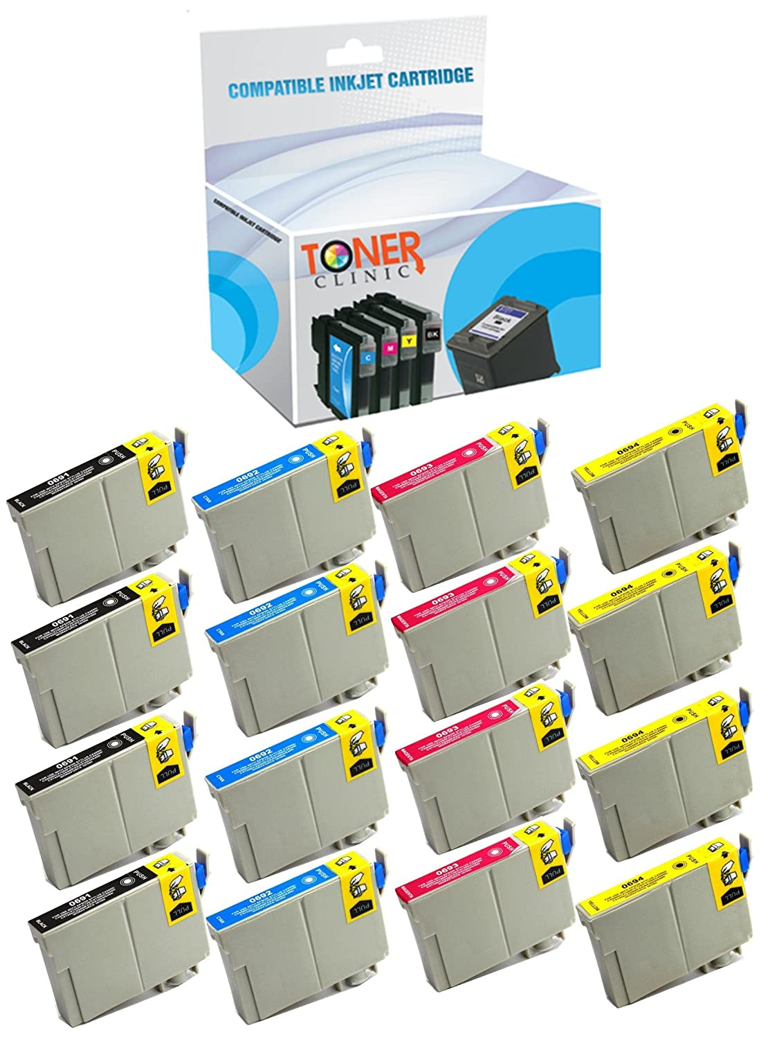 Toner Clinic ® TC-T069 16PK 4 Black 4 Cyan 4 Magenta 4 Yellow Inkjet Cartridge for Epson T069 69 Compatible With Epson Stylus C120 NX100 NX110 NX115 NX200 NX210 NX215 NX300 NX400 NX410 NX415 NX510 NX515 WorkForce 1100 30 310 315 40 500 600 610 615