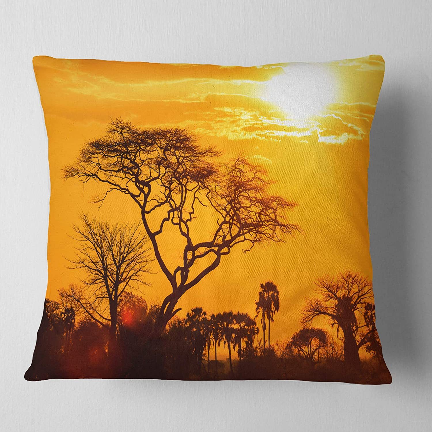 x 26 in Sofa Throw Pillow 26 in in Designart CU10884-26-26 Orange Glow of African Sunset Landscape Printed Cushion Cover for Living Room