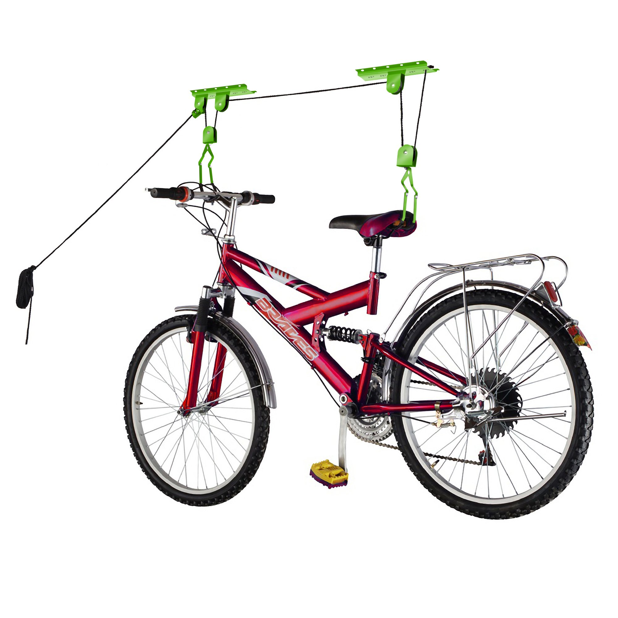 Bike Lane Products Bicycle Garage Storage Lift Bike Hoist 100Lb Capacity Heavy Duty, Green