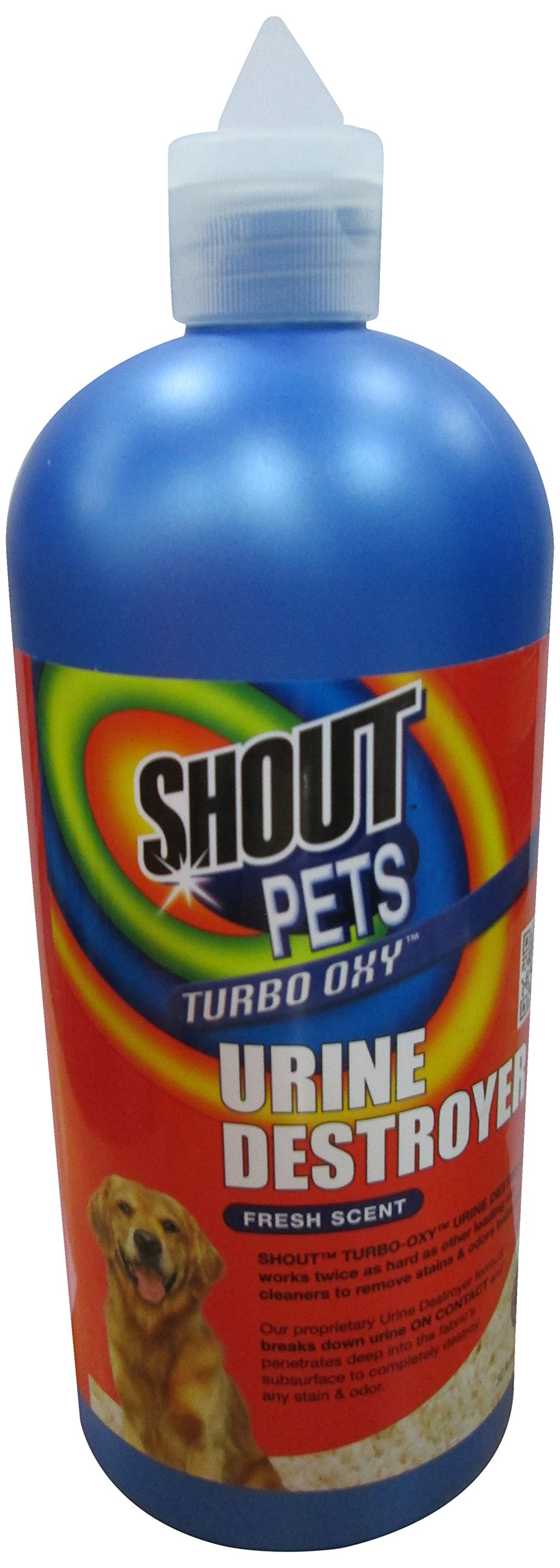 Shout for Pets Turbo Oxy Urine Destroyer   Best Cleaner to Remove Dog Urine Stains, 32 ounces, Fresh Scent