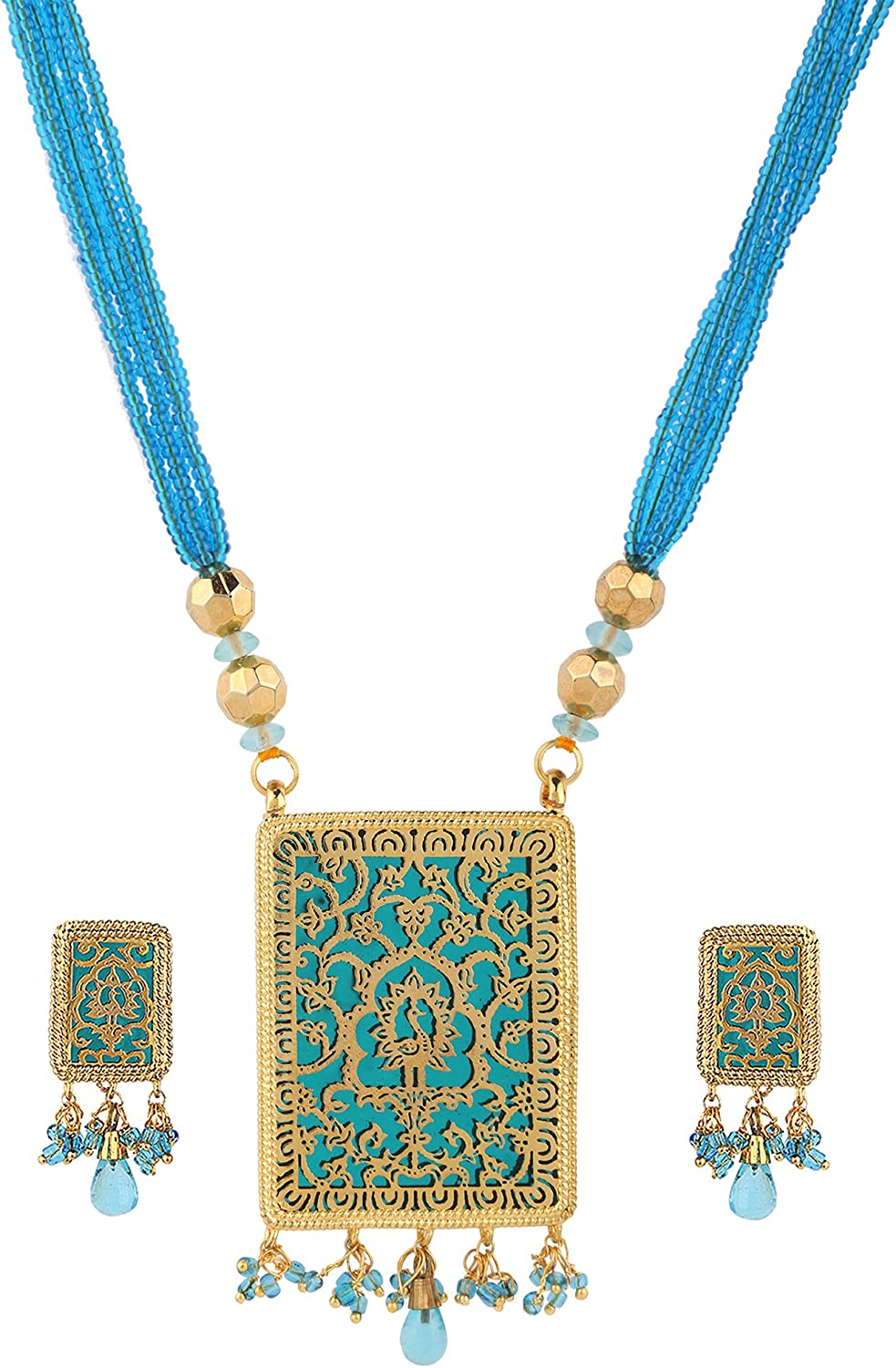 Swasti Jewels Indian Traditional Peacock Jaipur Thewa Art Pendant Earrings Jewelry for Women
