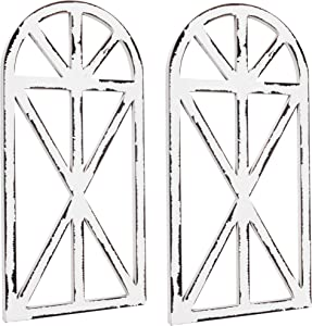 KIBAGA Beautiful Cathedral Window Frame Set of 2 – Rustic Farmhouse Wall Decor for Living Room