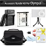 Accessories Bundle kit For Olympus XZ-1 SZ-10 SZ-20 SZ-30MR, SP-810UZ SZ-11, TG-860, TG-870 Digital Camera Includes Extended (1000maH) Replacement LI-50B Battery + Ac/Dc Charger + Carrying Case + More