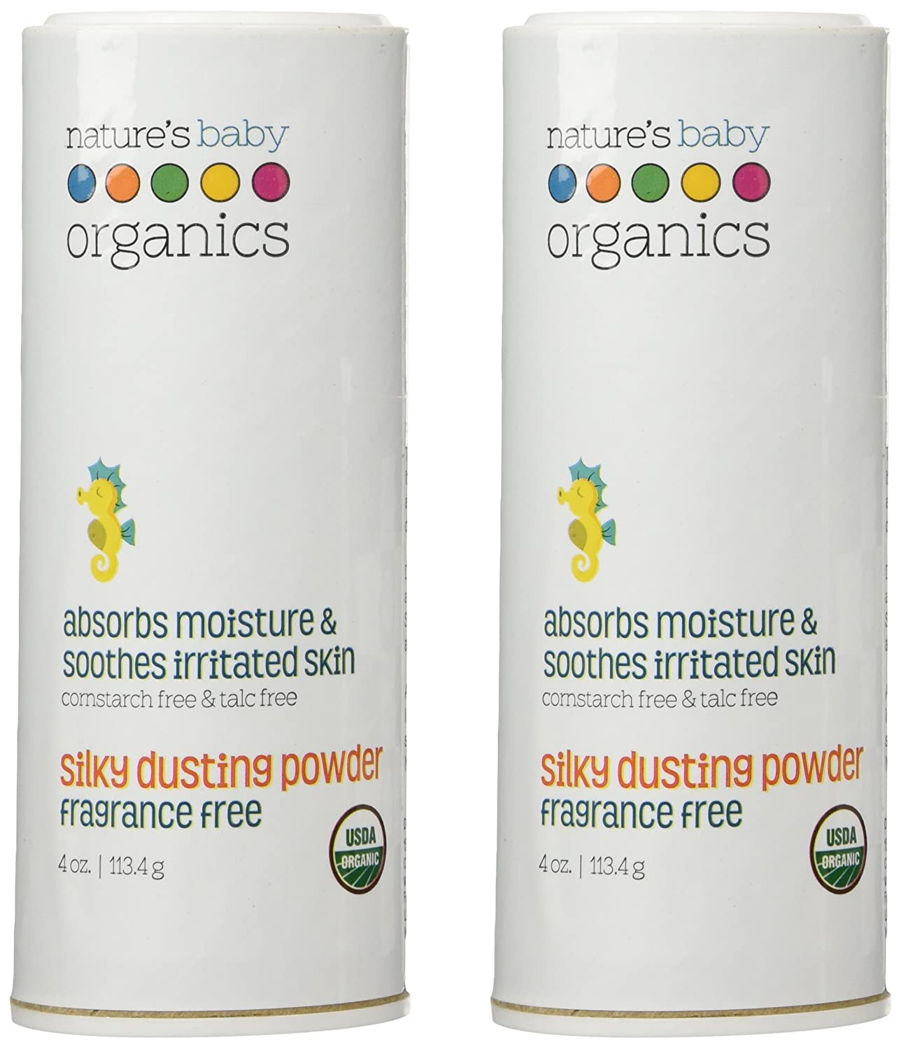 Nature's Baby Organics Silky Dusting Powder, Fragrance Free, 4-Ounce Container (Pack of 2) Natures Baby Organics -3778