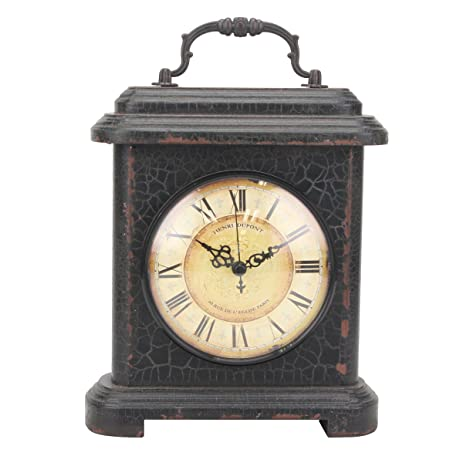 Stonebriar Rustic Industrial Metal And Wood Table Top Clock With Handle,  Vintage Antique Home Decor